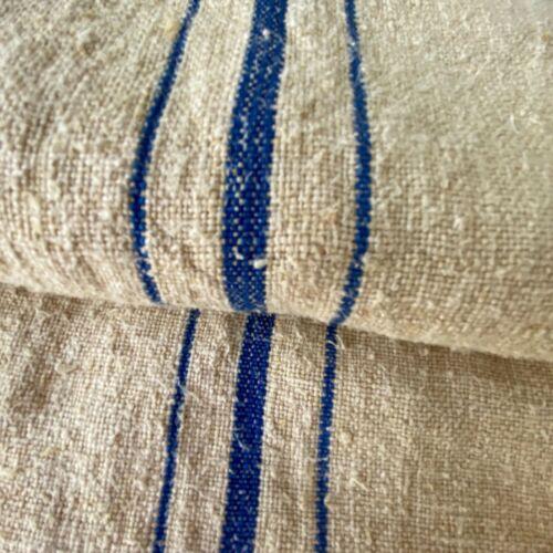 Indigo blue Organic fabric hemp Antique French Grainsack Linen