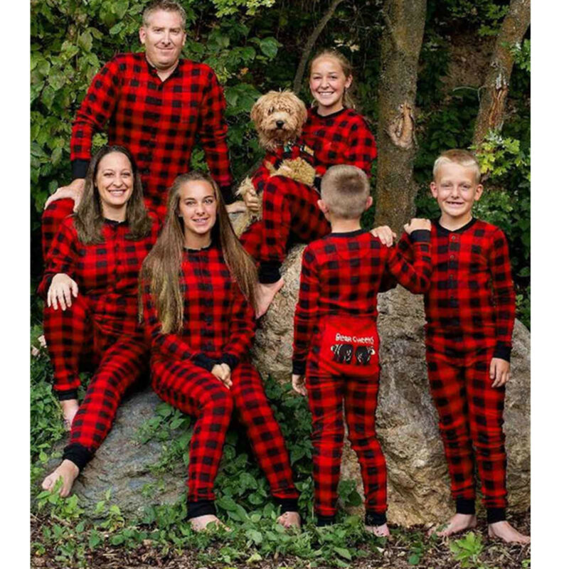 Family Matching Christmas Pajamas Jumpsuit Homewear Sleepwea
