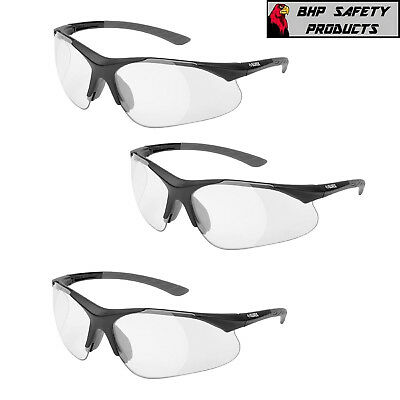 Elvex Rx-500c Full Magnifier Reader Safety Glasses 0.5-2.5 Strength 3 Pair