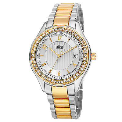NEW Burgi BUR135TTG Women's Classic Coll. Swarovski Crystal Bezel Two Tone Watch