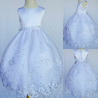 White Flower Girl Bridesmaids Communion Baptism Toddler Embroidery Dress #36 (White Girl Dresses)