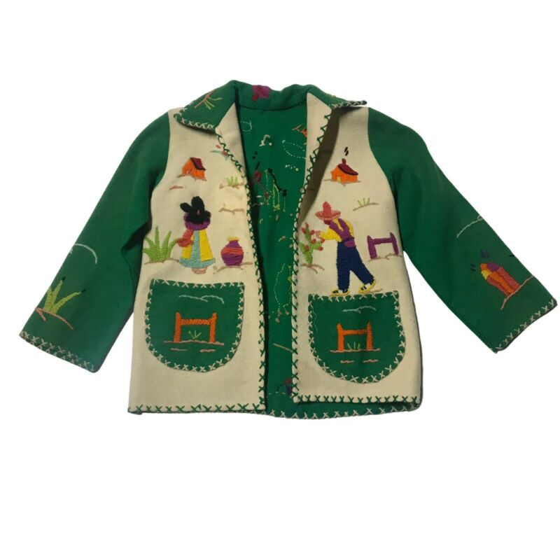 1940s Childrens Mexican Tourist Jacket / Souvenir Embroidered Coat / Girls 4