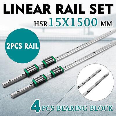 2xsbr15-1500mm Linear Rail Slide Guide Rod4sbr15ca Block Set Aluminium Bearing