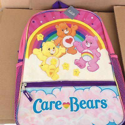 "CARE BEARS Large 16"" BACKPACK School Bag FUNSHINE CHEER & TENDERHEART BEAR NEW"