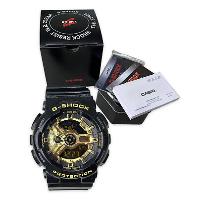 Black and Gold Casio G Shock Analog-Digital Dial Resin Men's Watch GA110GB-1ACR