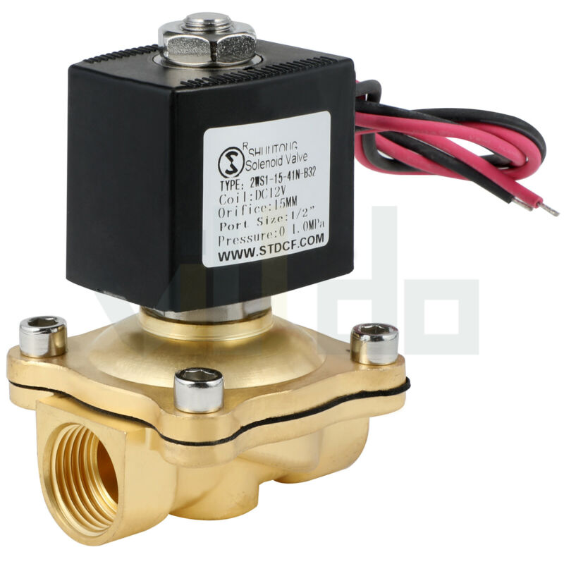 1/2 Inch Electric Brass Solenoid Valve 12V Volt DC Gas Fuel Air Normally Closed