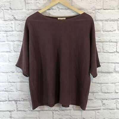 Eileen Fisher Size Large Sweater Shirt Organic Linen Short Sleeve Thin Womens