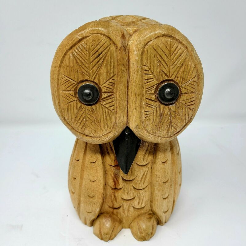 "Unique Vintage Handcarved Stylized 8"" Wooden Owl Sculpture Figure"