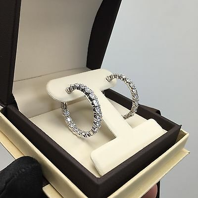 8Ct Man Made Diamond Hoop Earrings D If 14K White  Yellow Or Rose Certified