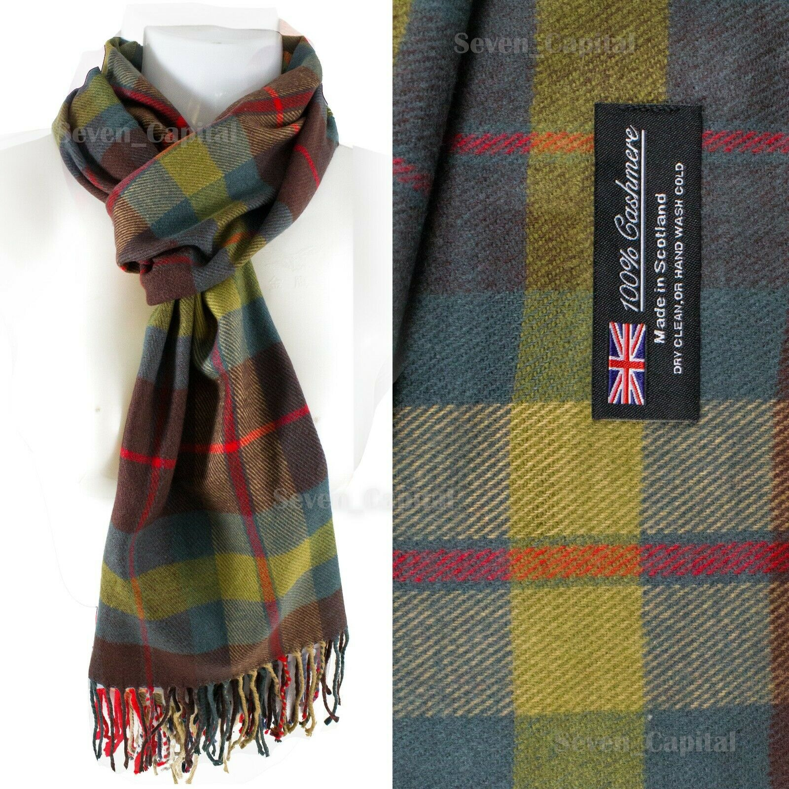 Mens Womens Winter Warm SCOTLAND Made 100% CASHMERE Scarf Scarves Plaid Wool 31. Plaid: Brown/Yellow