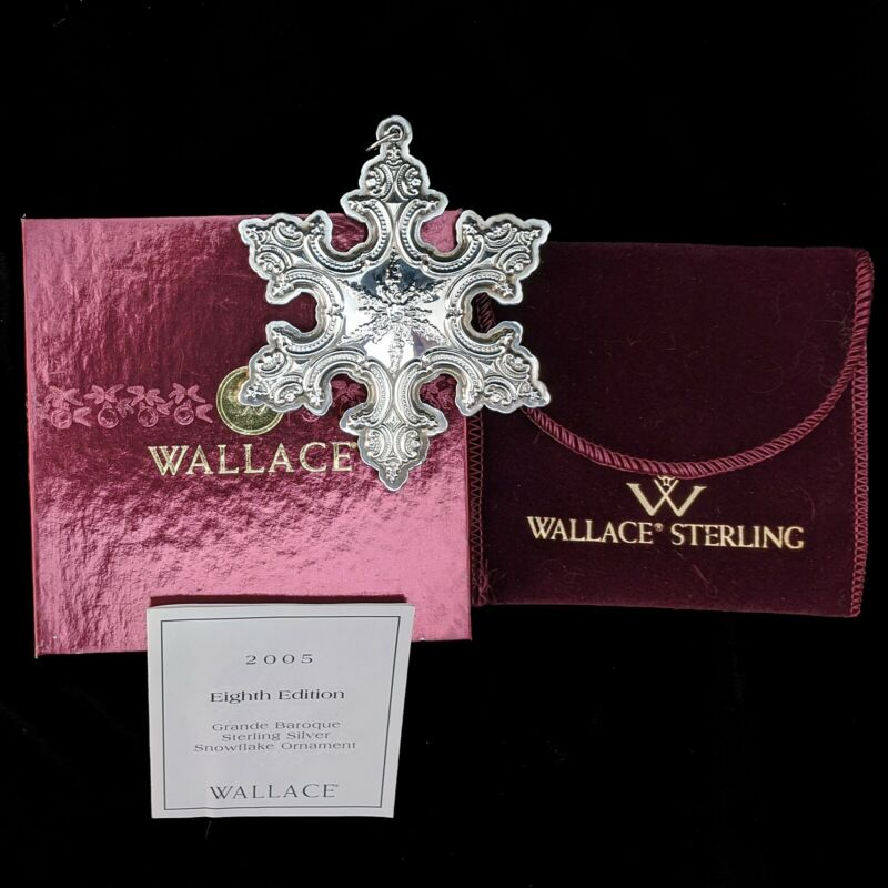 Wallace Silversmiths 2005 Grande Baroque Sterling Silver SNOWFLAKE Ornament 8th