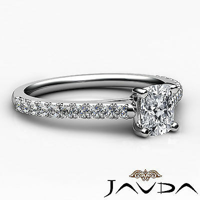 Cathedral French V Pave Cushion Diamond Engagement Wedding Ring GIA G VS1 0.75Ct 2