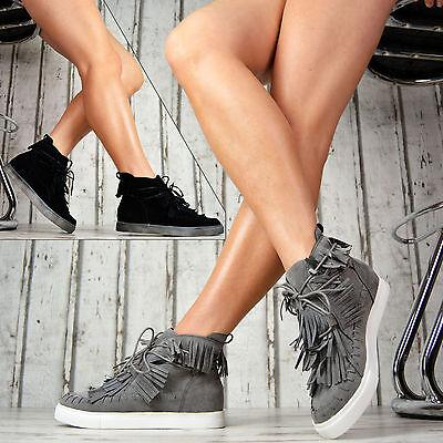 Damen Fransen (Damenschuhe mit Fransen Damen Sneaker Flach Kurz Damenschuhe Grau Schwarz)