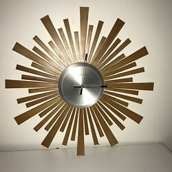 Wooden Starburst Wall Clock - Sterling And Noble Mid Century Modern - 16""