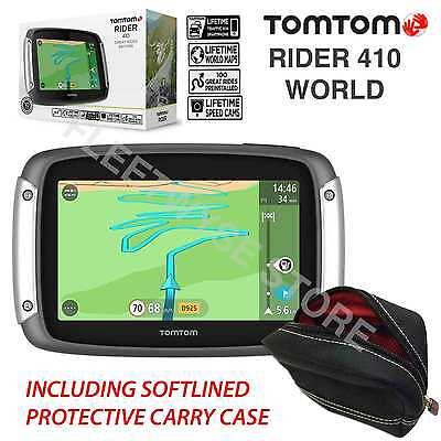 TOMTOM RIDER 410 WORLD GREAT RIDES  GPS MOTORCYCLE SAT NAV LIFETIME TRAFFIC MAPS