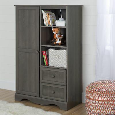 South Shore Savannah Armoire With Drawers Gray Maple 2day Delivery 2 Drawer Maple Armoire