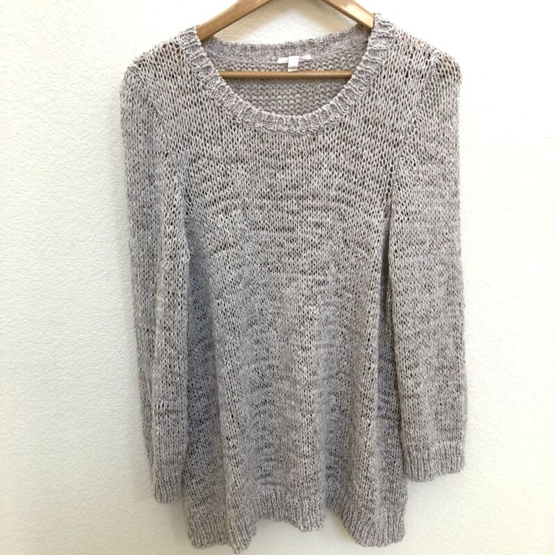 Eileen Fisher Sz Large Open Knit Sweater Gray Long Sleeve Pullover