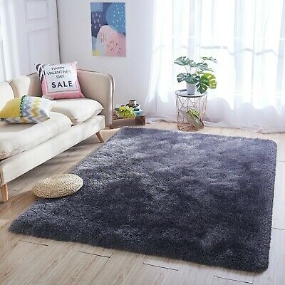 Dark Grey Thick Dense Pile Super Soft Living Room Bedroom Shaggy Shag Area Rug