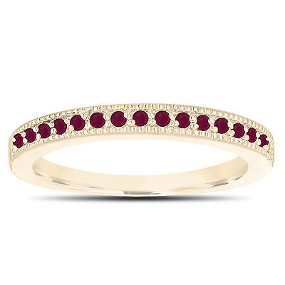 Ruby Gold Wedding Bands - Ruby Wedding Band 14K Yellow Gold Half Eternity Anniversary Ring Handmade 0.16ct