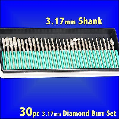 30pc DIAMOND ROUTER CUTTER BURR SET 3.17 hobby rotary tool grind cut fits Dremel