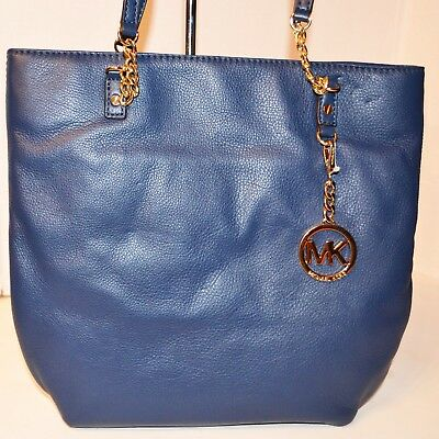 Michael Kors Jet Set Chain Tote Leather Navy Bag Handbag Bolsa Purse MRSP$248, usado comprar usado  Enviando para Brazil