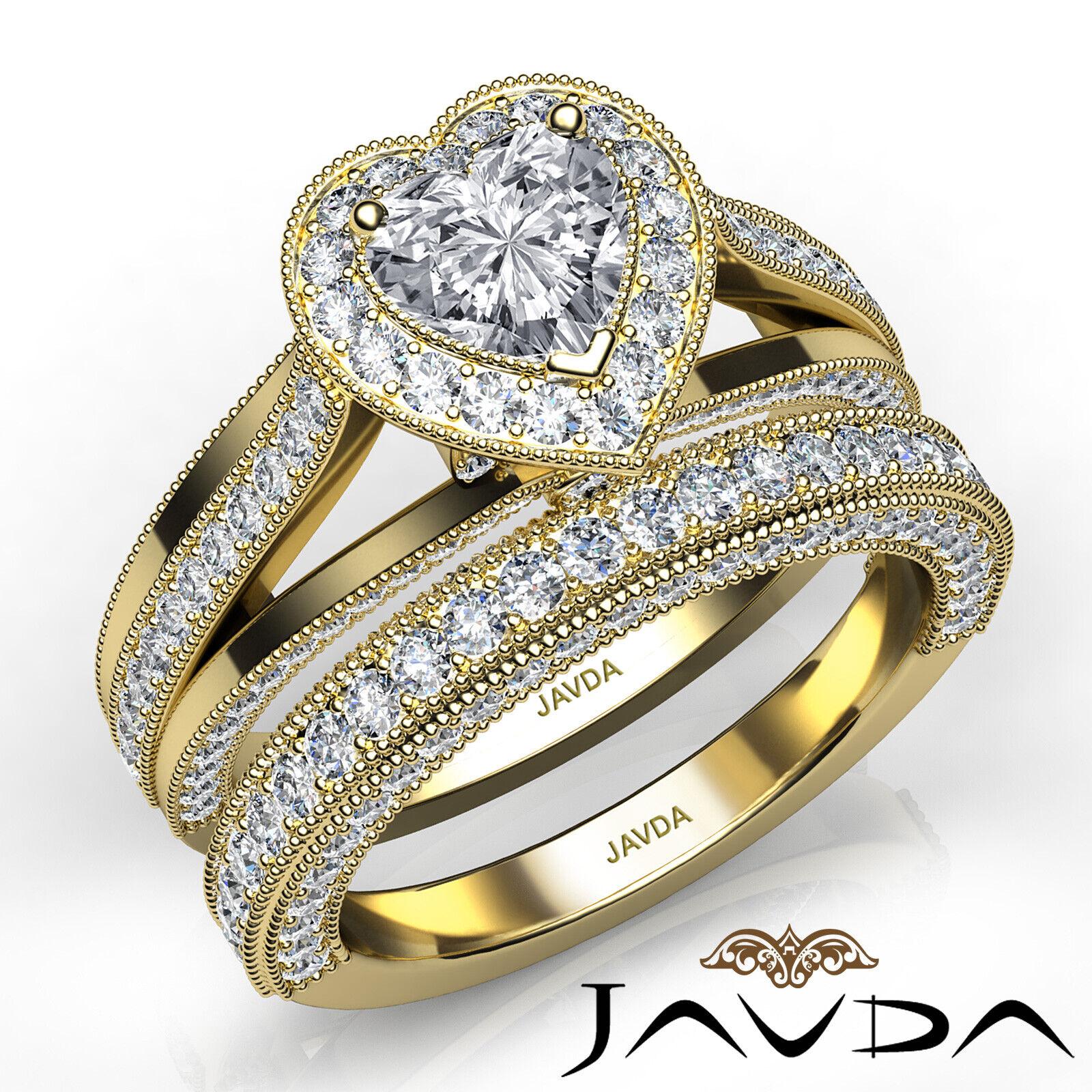 2.24ctw Halo Milgrain Edge Bridal Heart Diamond Engagement Ring GIA F-VS1  Gold 8