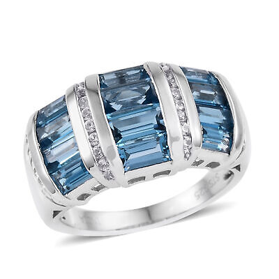 925 Sterling Silver Platinum Plated Blue Topaz Wide Band Ring Jewelry Ct 2.8 -