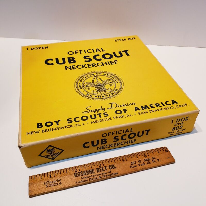 """Vintage """"Cub Scouts BSA""""  Neckerchief Sales Box from Supply Division Empty"""
