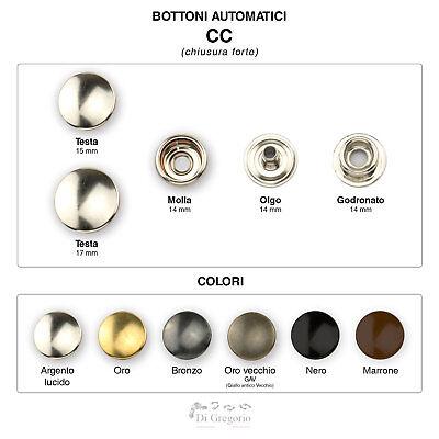 Bottoni automatici a pressione tipo CC in Ferro o Ottone Ø 15/17mm Conf 50/100pz