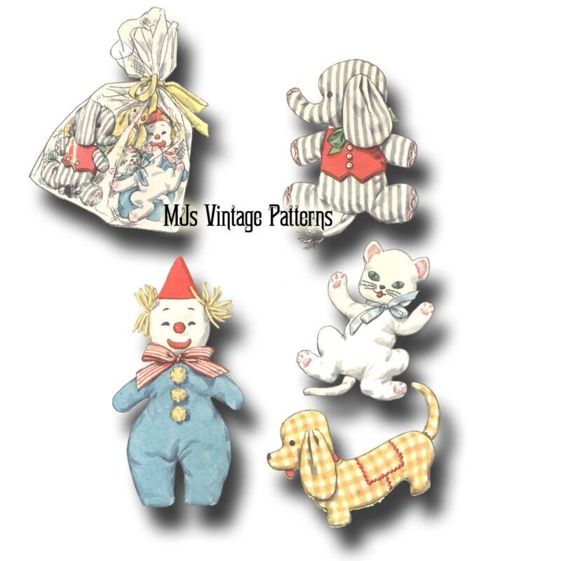 Vintage Pattern Baby Toys: Cat, Elephant, Clown, Dog