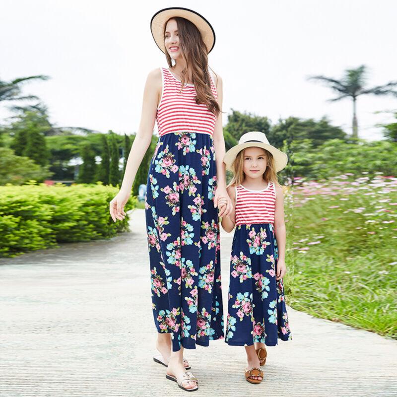 Partnerlook Mutter Tochter Kleid Mädchen Damen Strandkleid Sommerkleid Kleidung