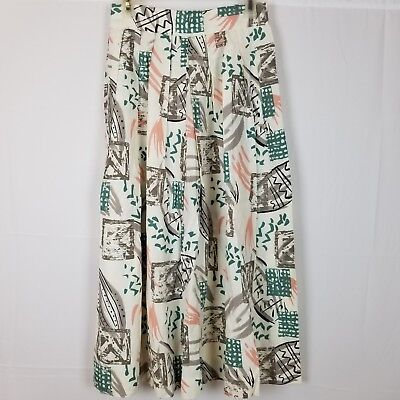 Womens Vintage 80s 90s Skirt JH Collectibles Abstract Print Sz 8 Accordion Pleat