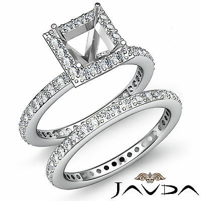 Halo Diamond Engagement Ring Princess Bridal Set 14k Gold White Semi Mount 1.28C