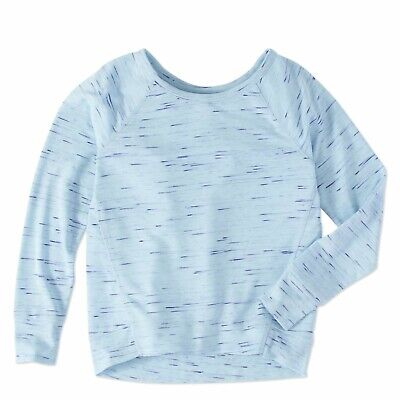 Athletic Works Girls French Terry Long Sleeve Shirt Size Medium 7-8  Blue Marled Marled French Terry