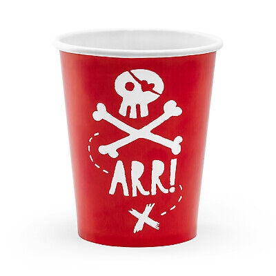 PIRATE PARTY DECORATIONS | 6 x Cups | Cheap Pirate Birthday Party Tableware  - Cheap Birthday Decorations