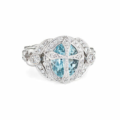 Aquamarine Diamond Cross Ring Platinum Sz 6.5 Estate Fine Jewelry Religious Aquamarine Religious Cross