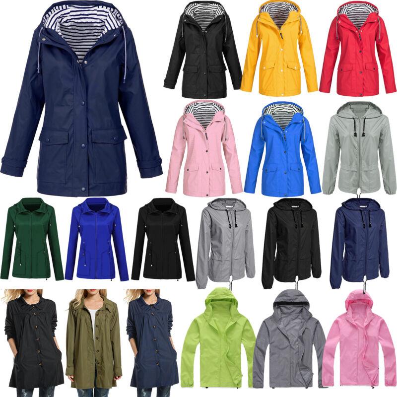 Womens Windbreaker Hooded Jacket Ladies Outdoor Winter Water