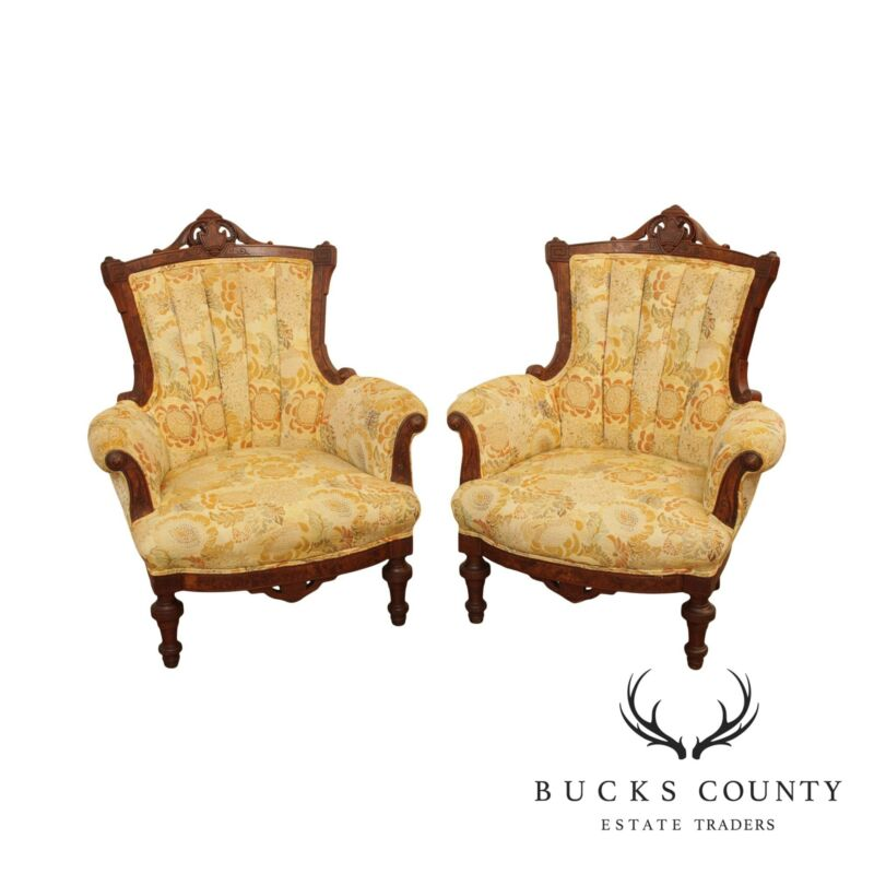 Antique Victorian Walnut Frame Pair Parlor Armchairs