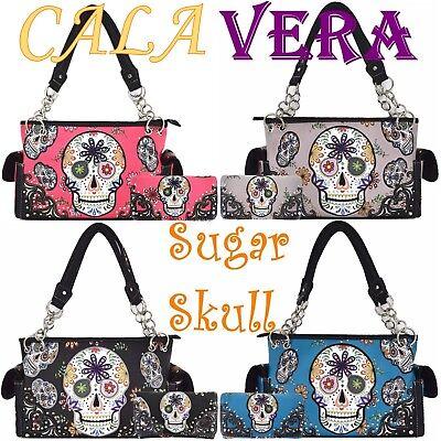Sugar Skull Day of the Dead Purse Punk Art Handbag Women Shoulder Bag Wallet Set (Day Of The Dead Purse)