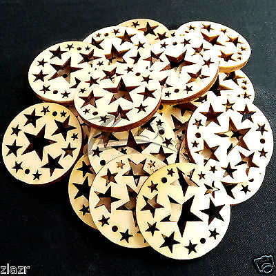 """100 1-1/4""""x1/8"""" Wooden STAR Circles Holiday Date Board Craft Shape 2 holes Wood"""