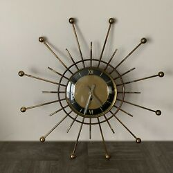 Vintage Starburst Sunburst Mid Century Wind Up Clock Made in Germany