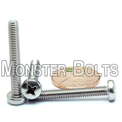 M4 X 30mm Stainless Steel Phillips Pan Head Machine Screws Cross Recessed A2