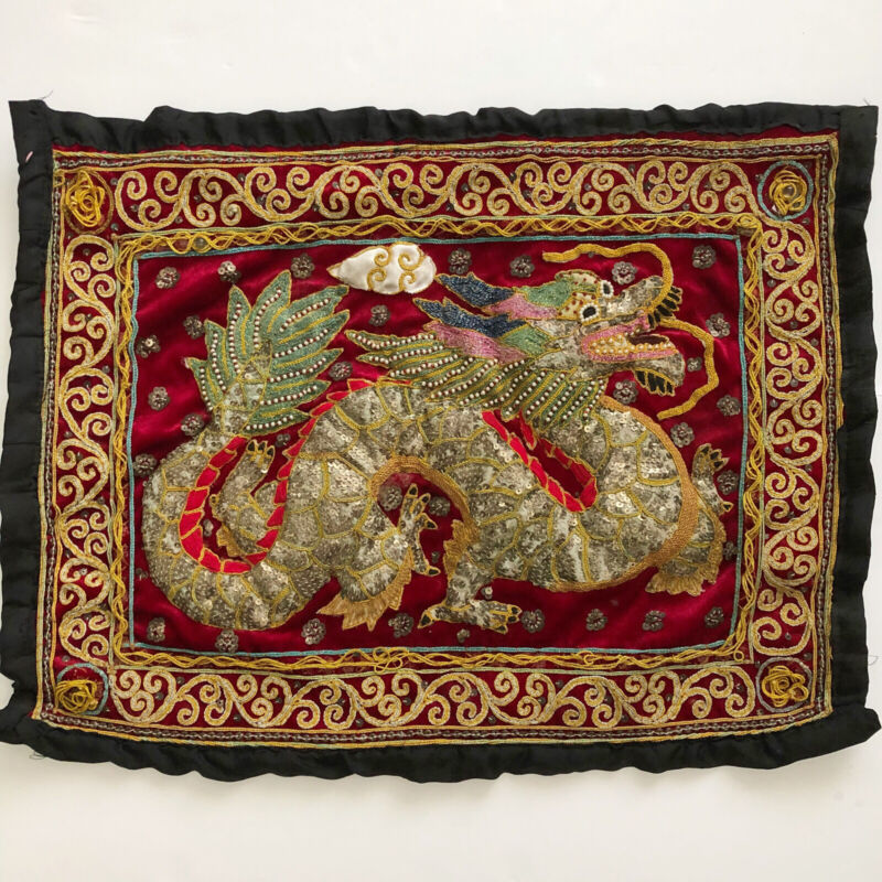 ANTIQUE BURMESE KALAGA TAPESTRY DRAGON VELVET HAND EMBROIDERY SEQUINS HAND MADE