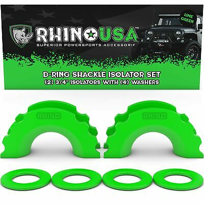 Rhino USA D-Ring Shackle Isolators (2) with Washers Included (4) - Green