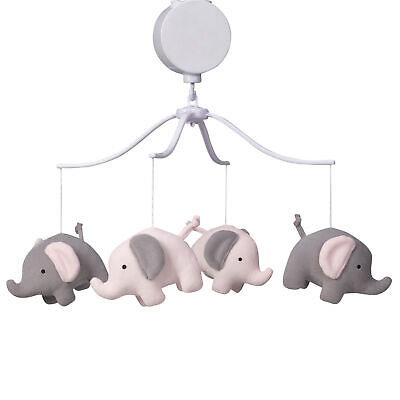 Bedtime Originals Eloise Pink/Gray Elephant Musical Baby Crib Mobile