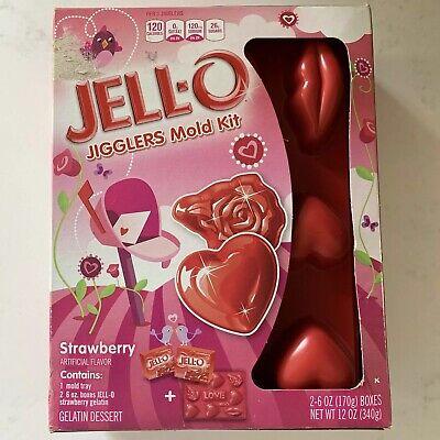 Red Jello Halloween (JELLO Jigglers Mold Kit Valentines Day Strawberry NEW SEALED Love Heart Lips)