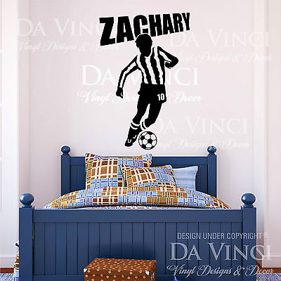 Soccer Player Wall Room Personalized Custom Name Vinyl Wall Decal Sticker Decor - Soccer Room Decor