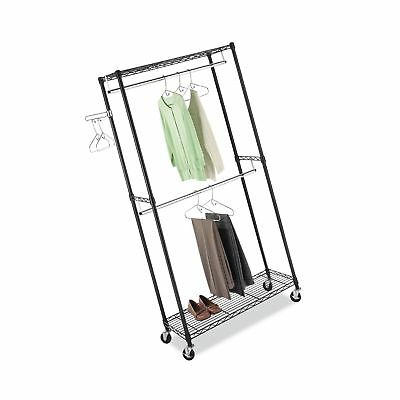 Whitmor Supreme Double Rod Garment Rack Rolling Clothes Organiz... Free