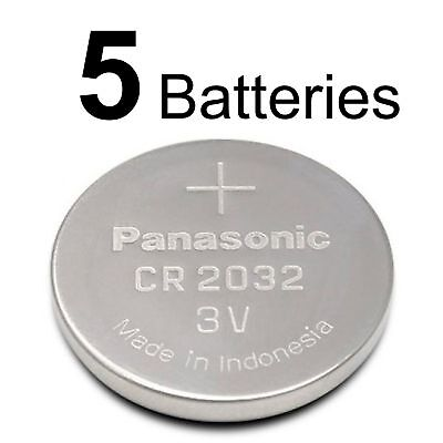 5 PANASONIC CR2032 CR 2032 3v Lithium Battery Expiration Date 2027