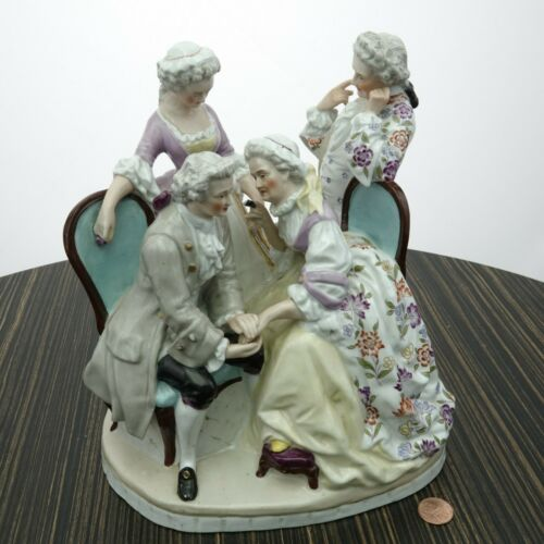 Antique Dresden Large Figure Group Hand Painted Porcelain